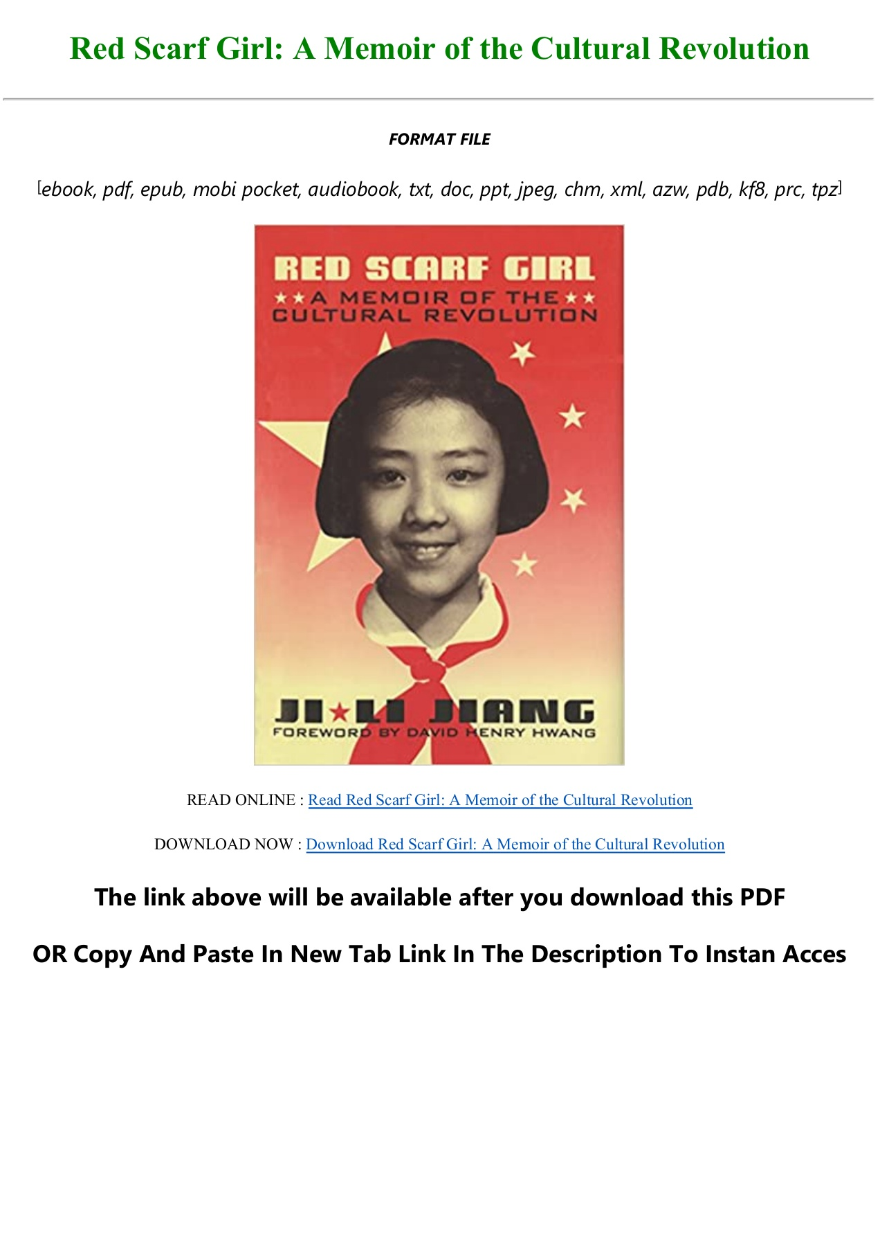 Red Scarf Girl Pdf