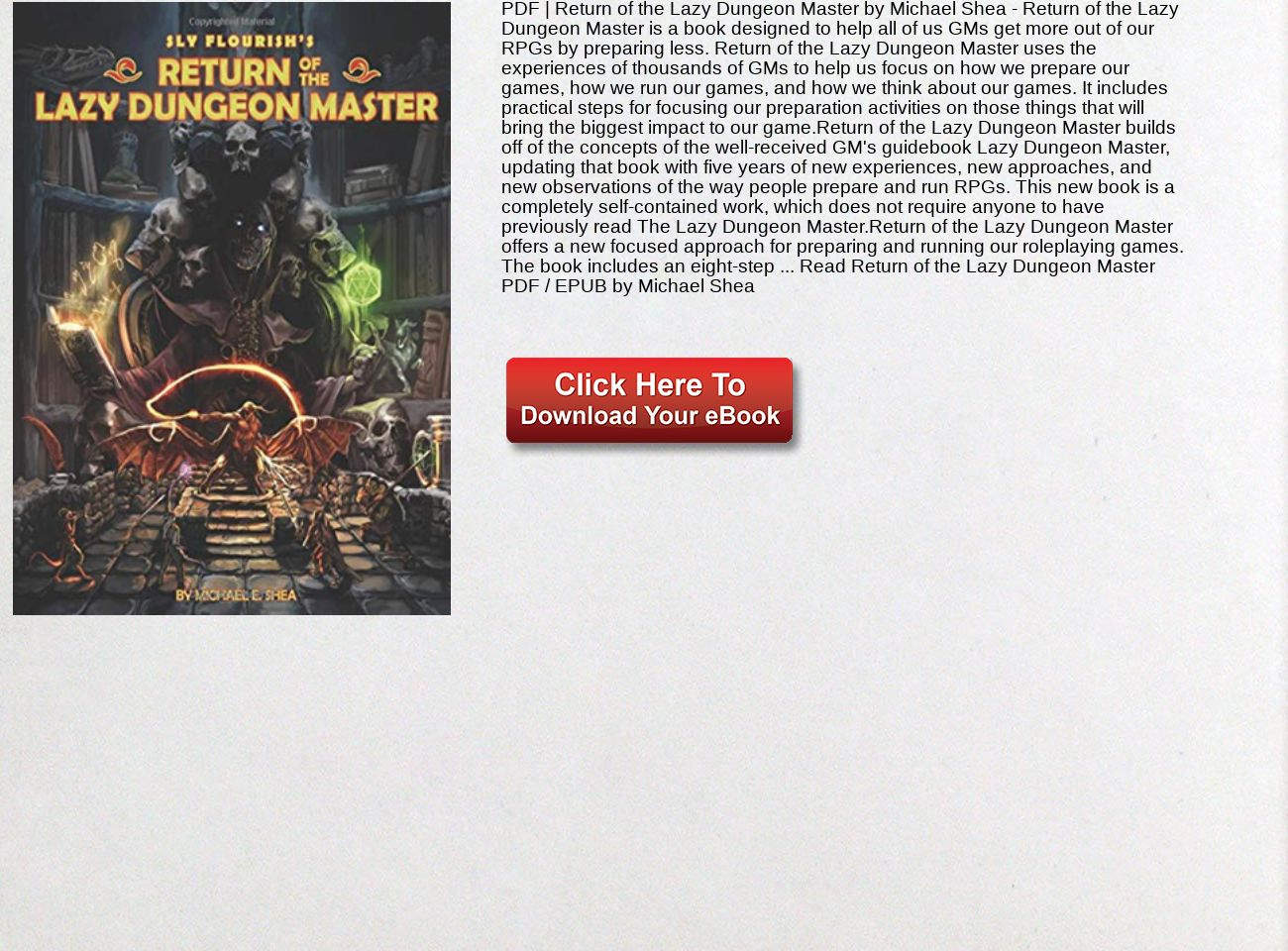 Return Of The Lazy Dungeon Master Pdf