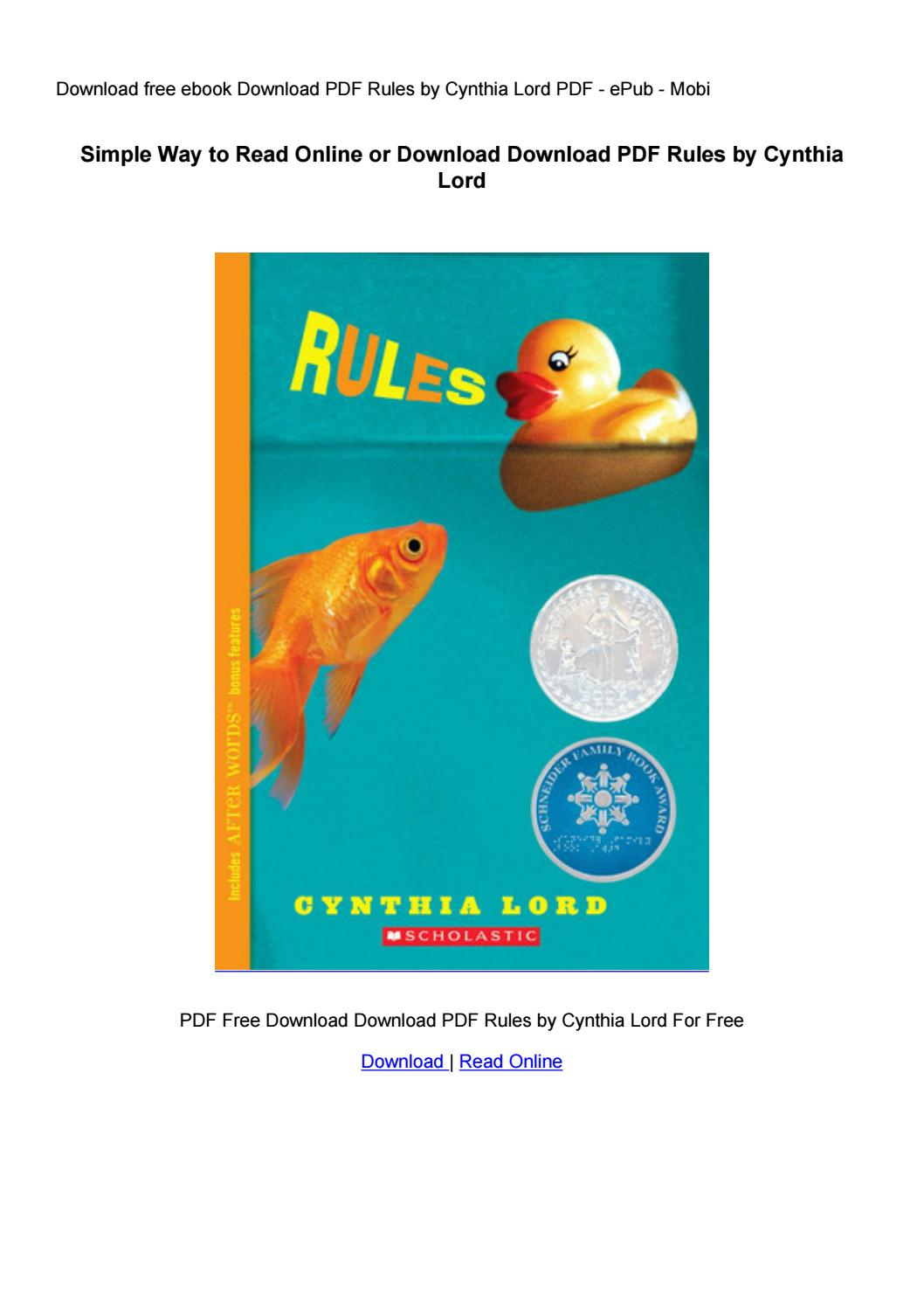 Rules By Cynthia Lord Pdf Download