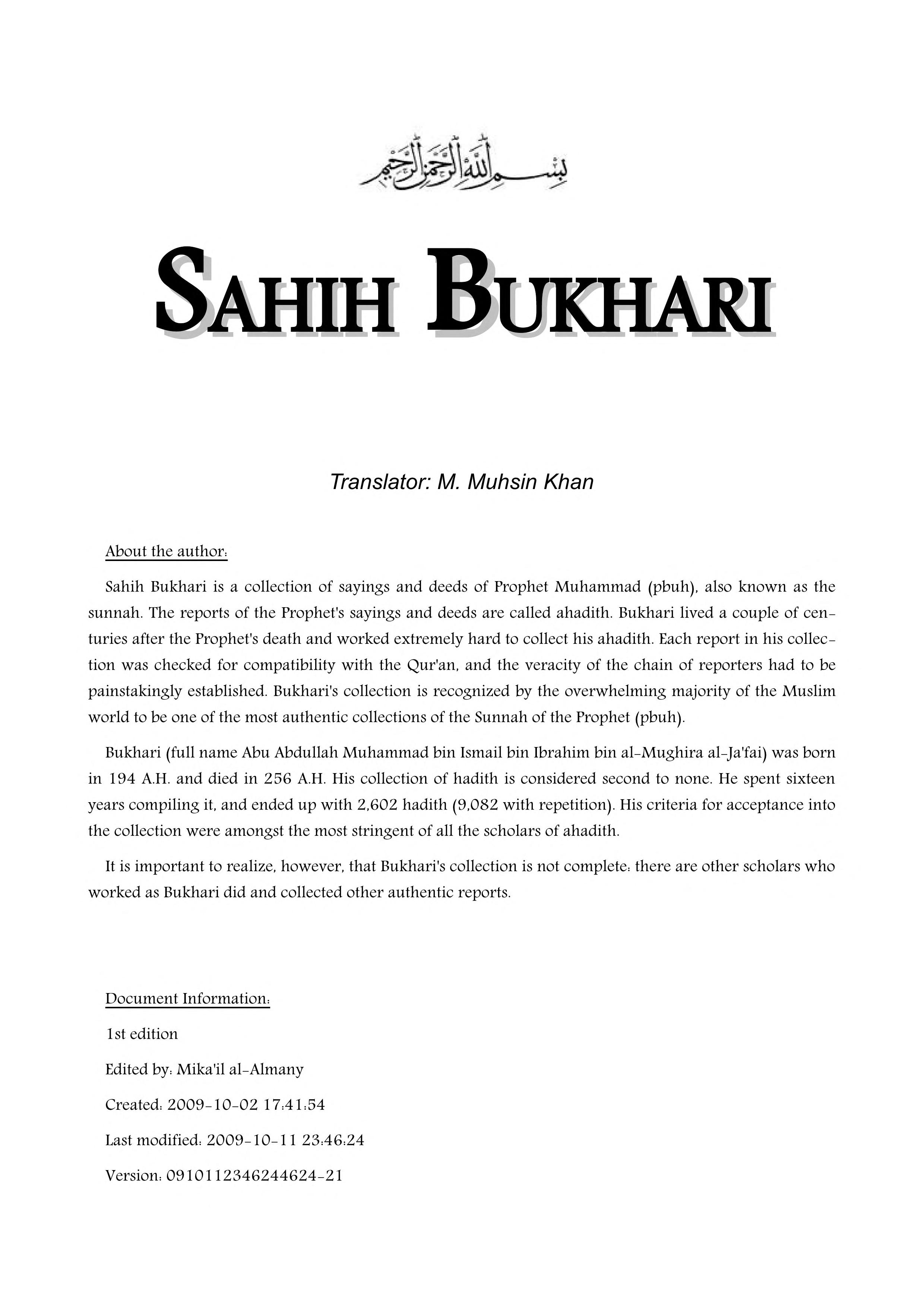 Sahih Bukhari English Pdf