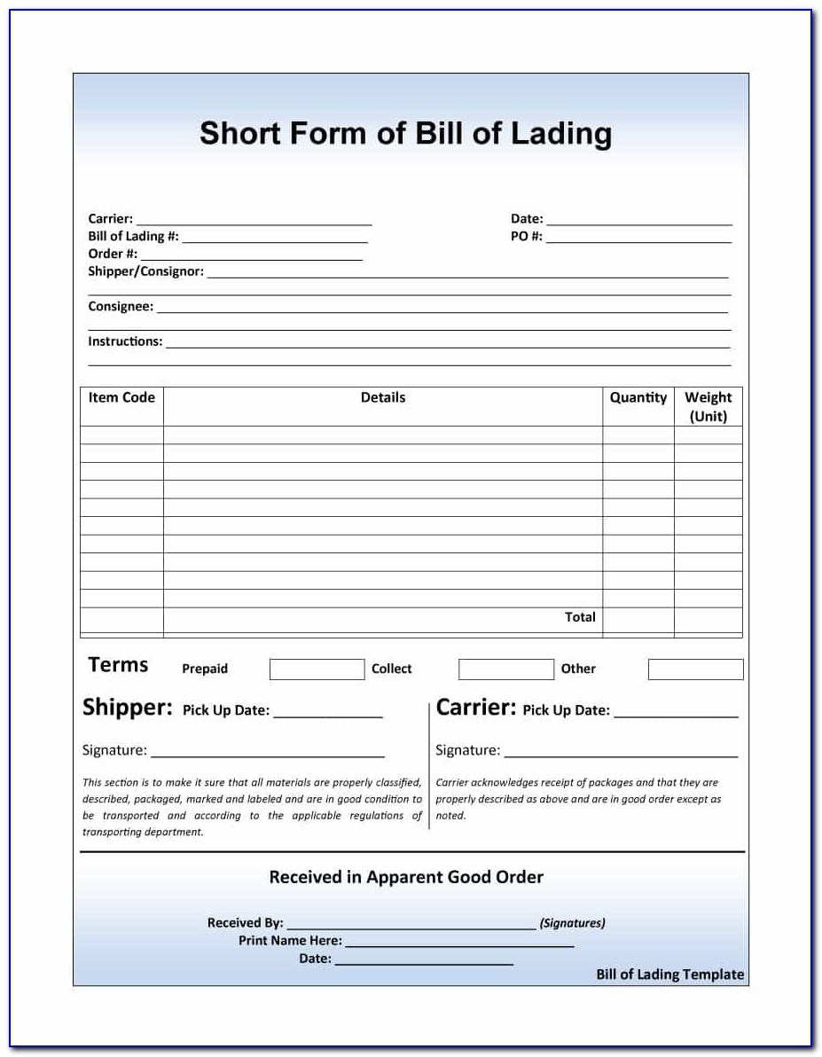 Sample Bill Of Lading Form Pdf