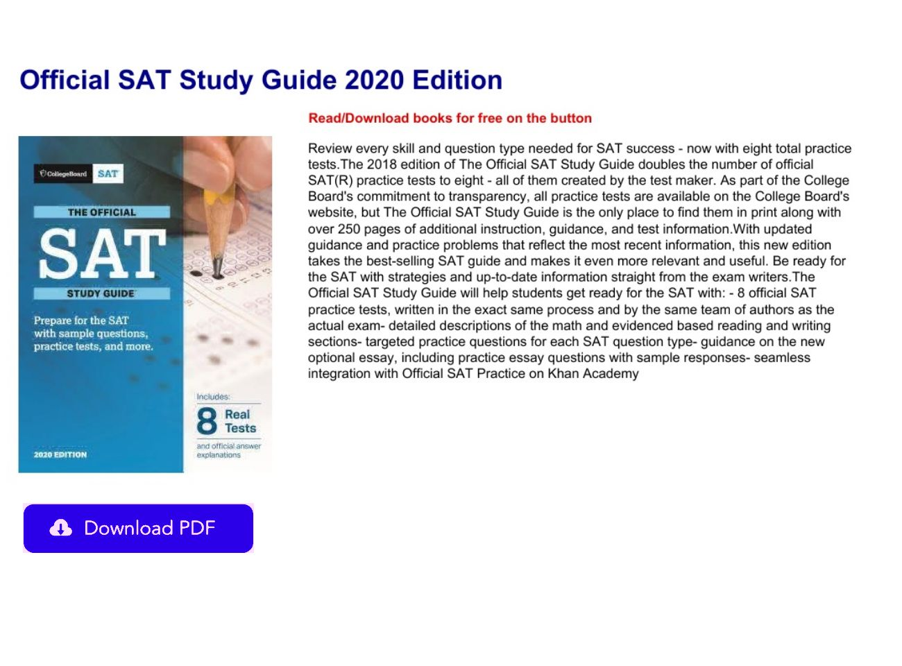 Sat Study Guide 2020 Pdf