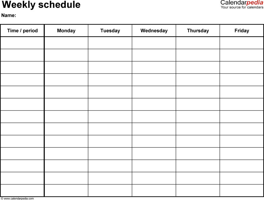 Schedule Template Pdf Free