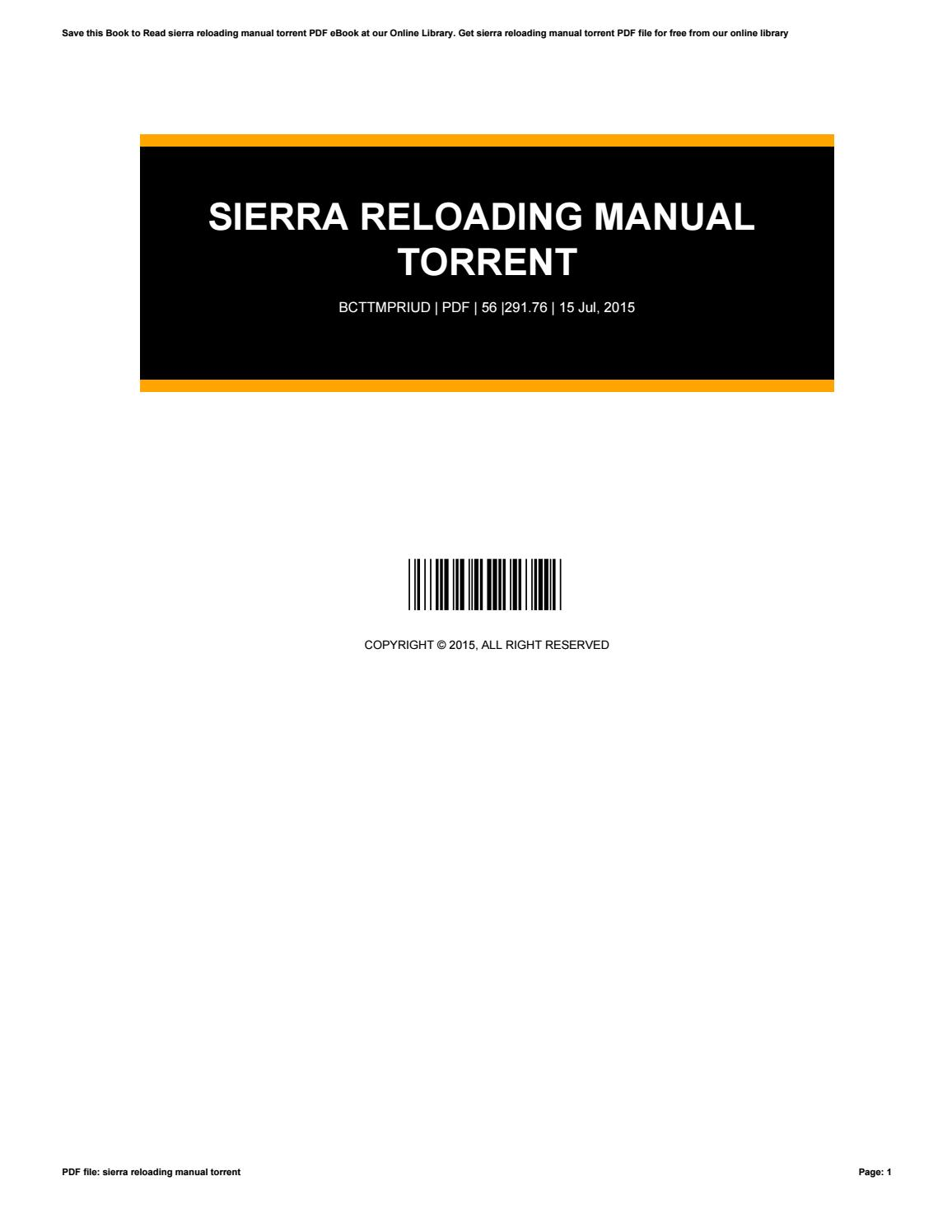 Sierra Reloading Manual 6th Edition Pdf