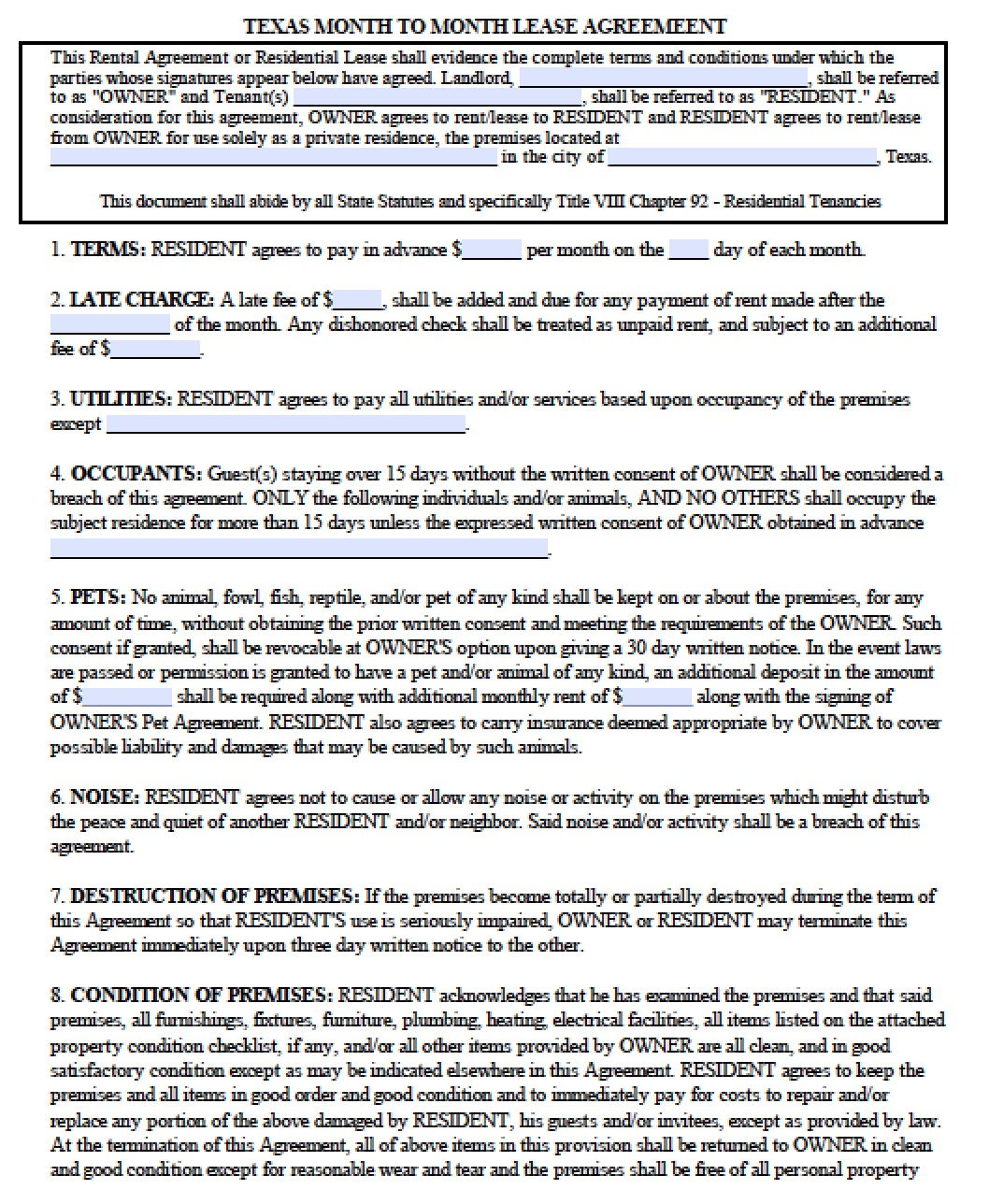 Simple Lease Agreement Texas Pdf