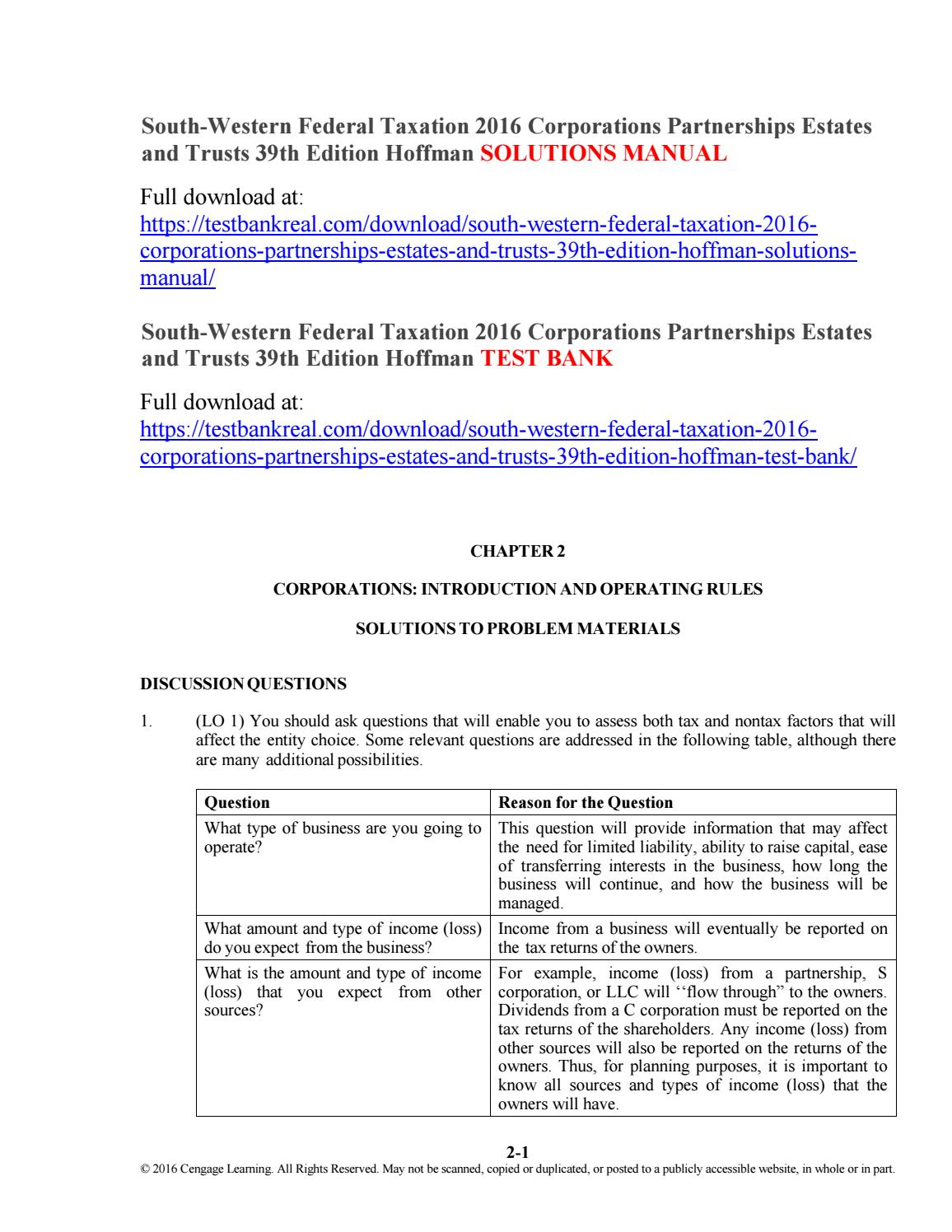 South Western Federal Taxation 2019 Corporations Partnerships Estates And Trusts Pdf