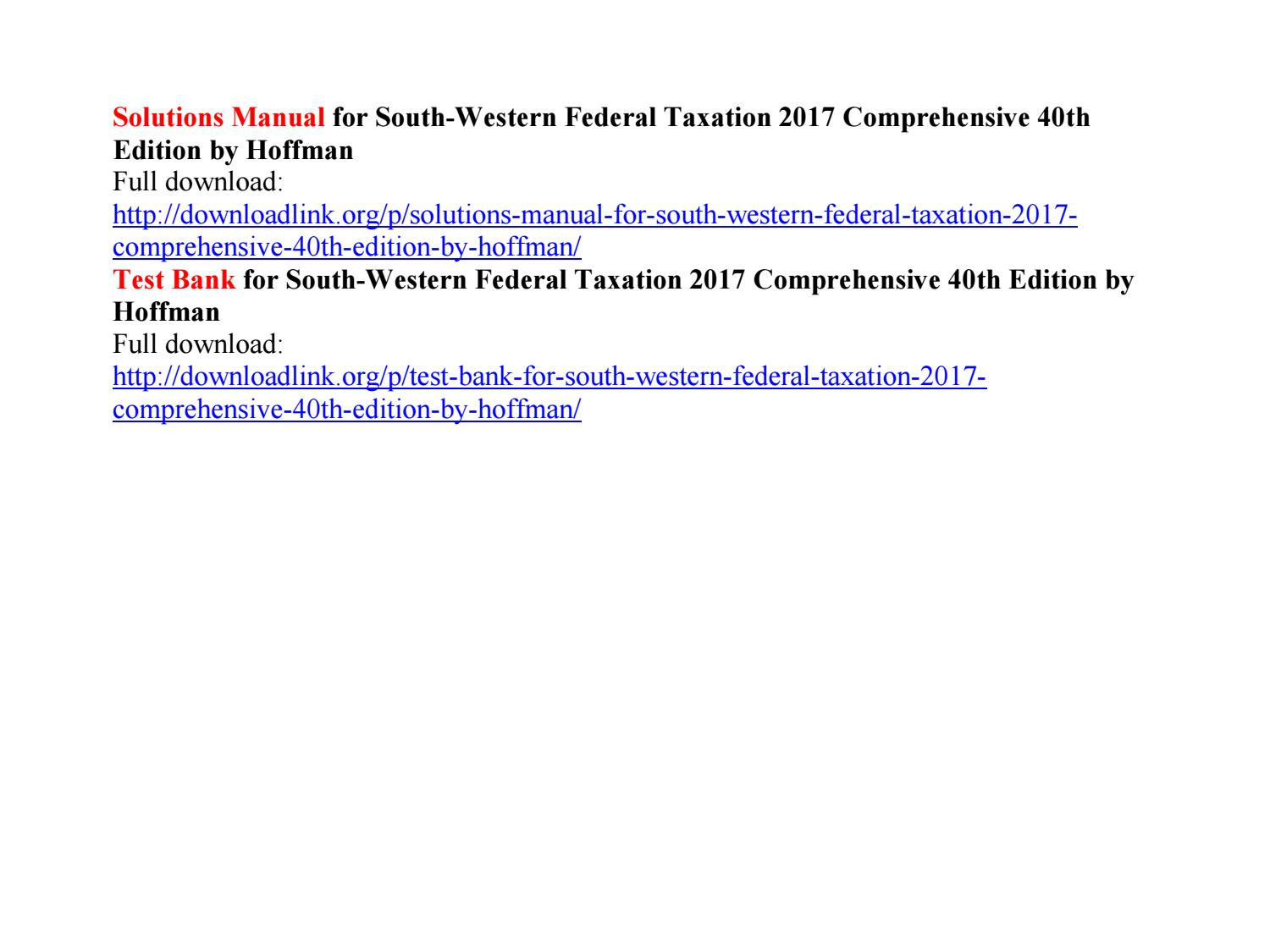 South Western Federal Taxation 2019 Solutions Manual Pdf