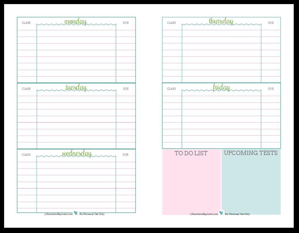 Student Weekly Planner Printable Pdf