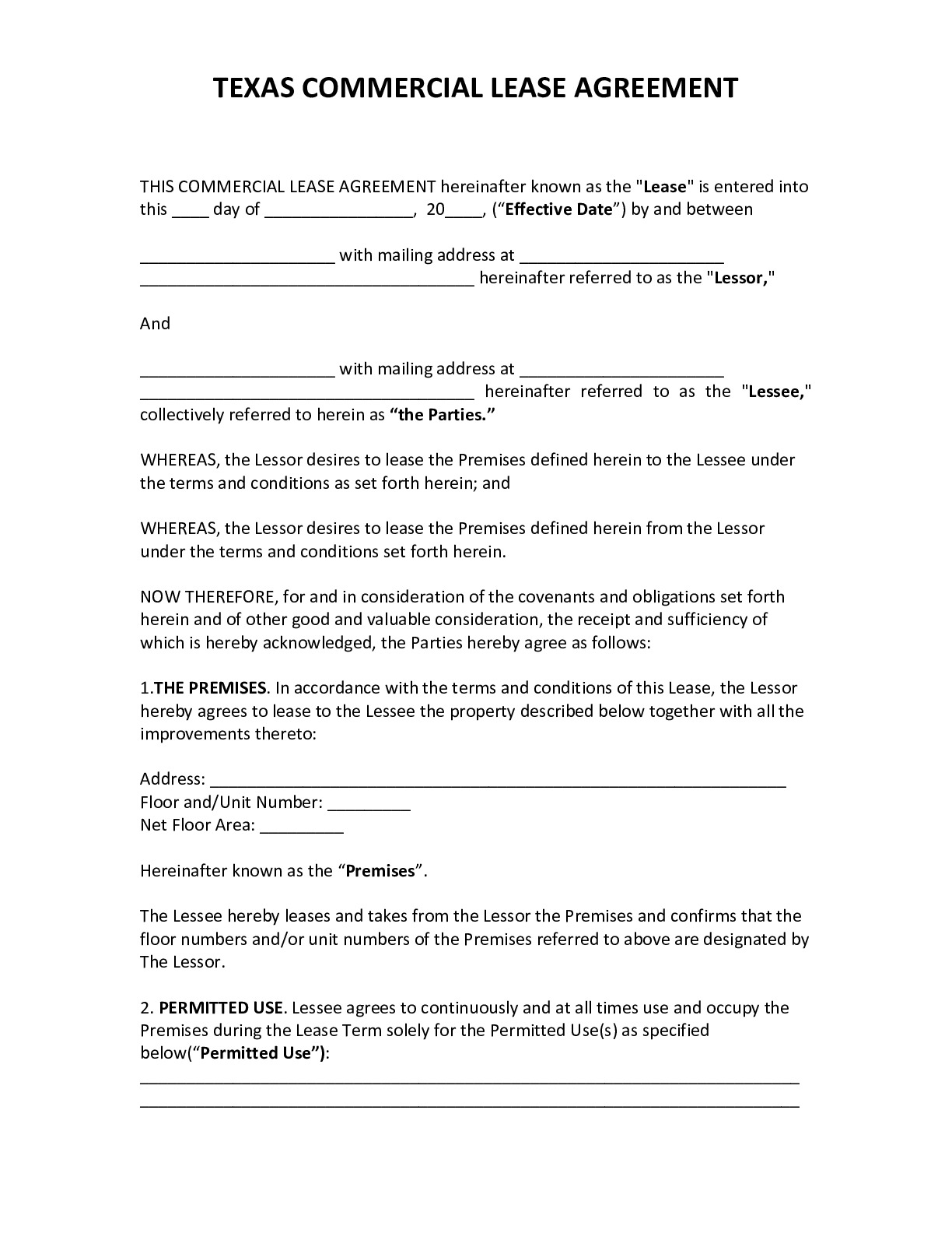 Texas Residential Lease Agreement 2020 Pdf
