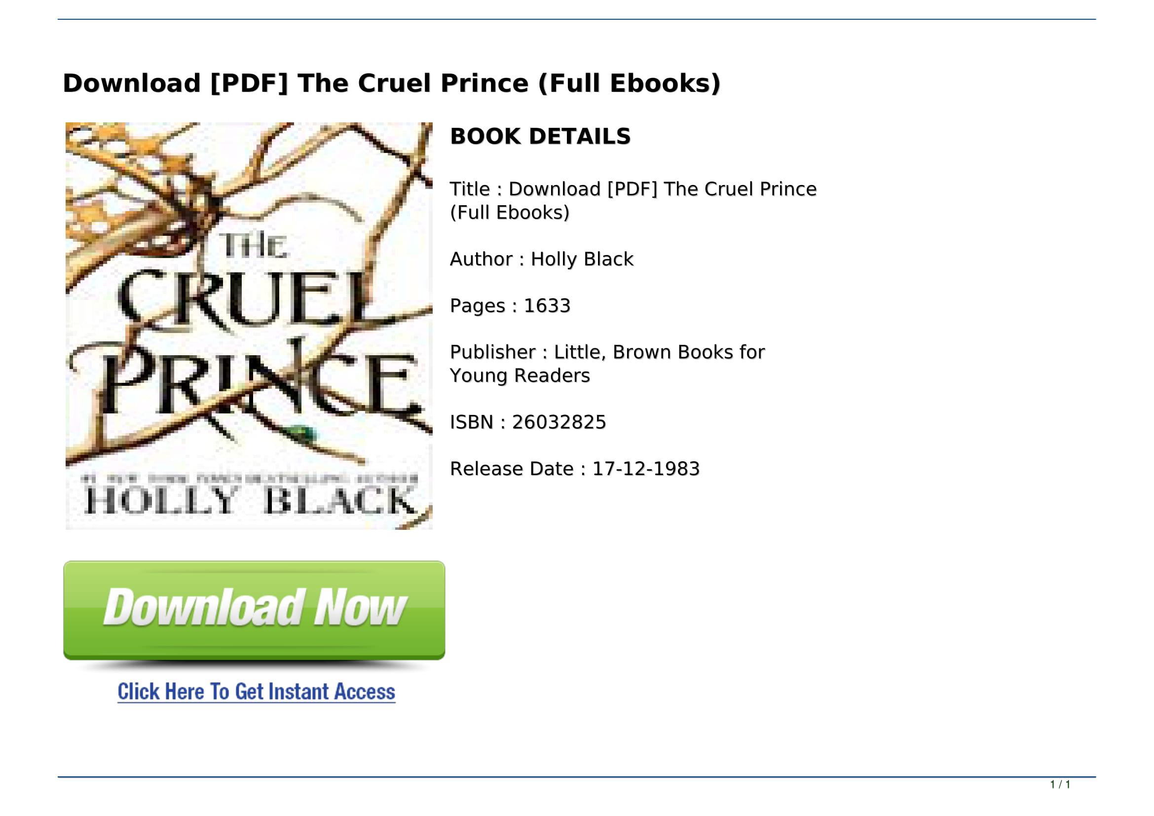 The Cruel Prince Pdf
