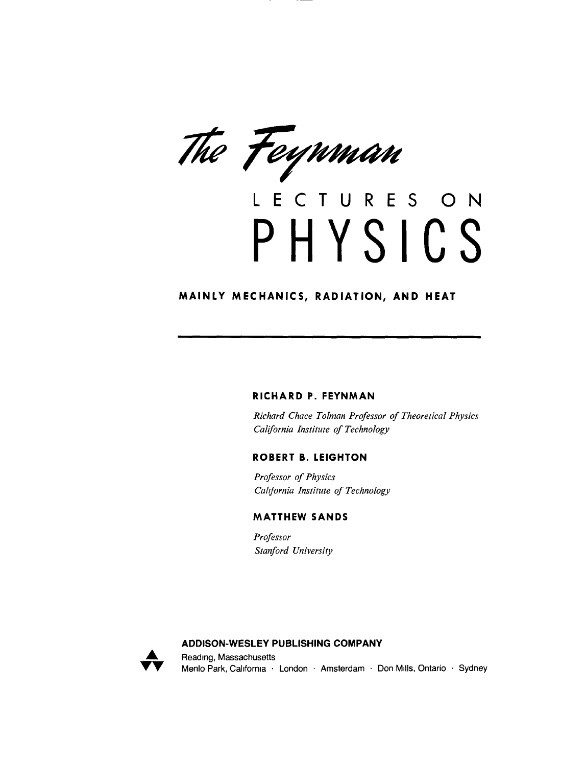 The Feynman Lectures On Physics Pdf