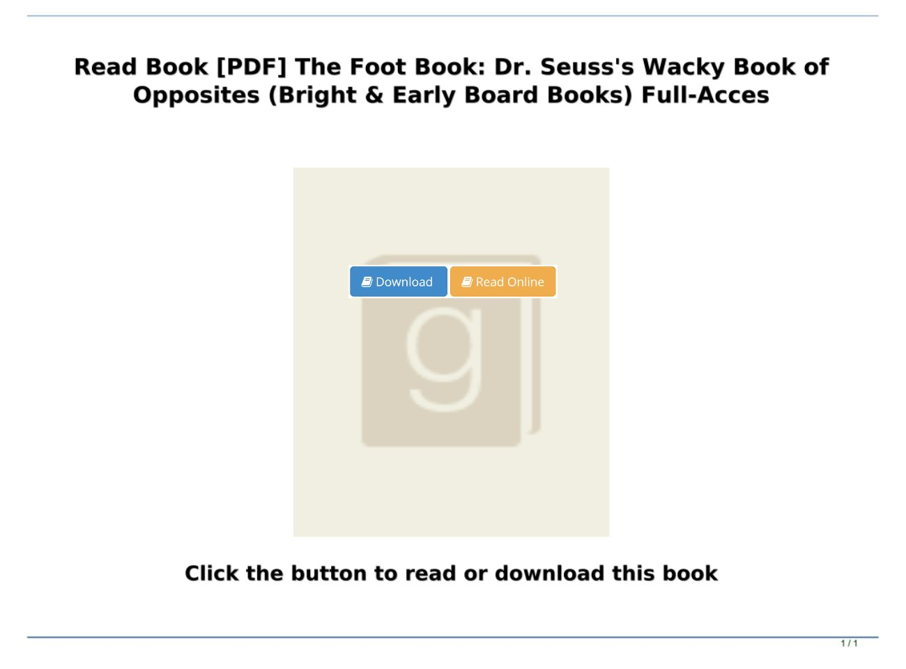 The Foot Book Pdf Download