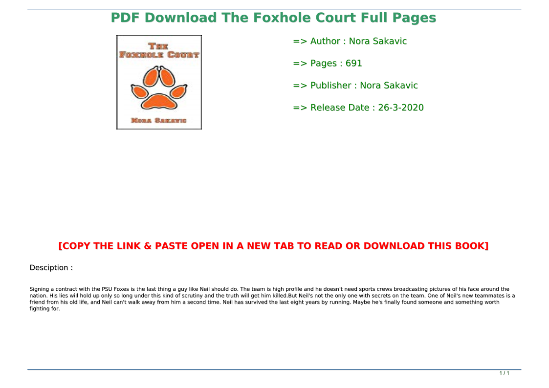 The Foxhole Court Pdf Download