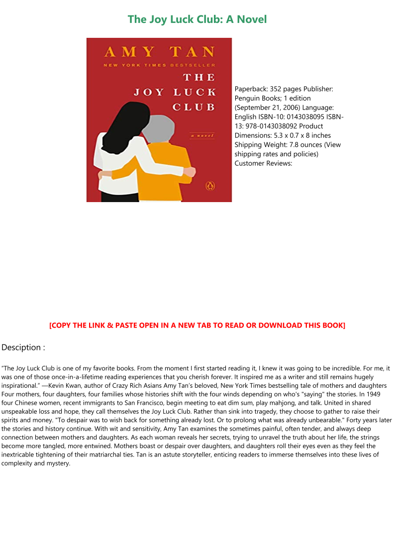 The Joy Luck Club Book Pdf