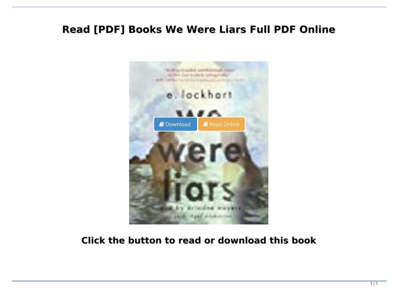 We Were Liars Book Pdf