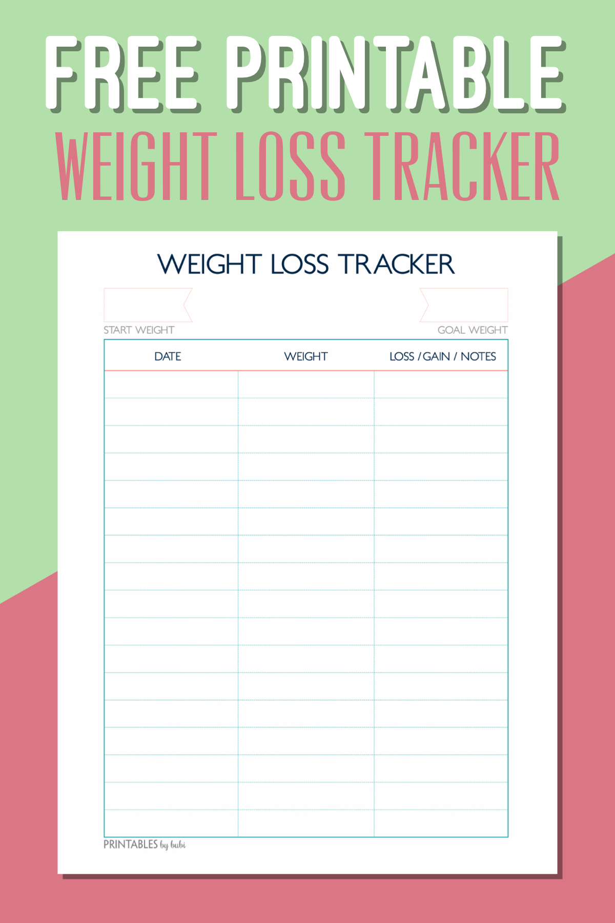 Weekly Printable Weight Loss Chart Pdf