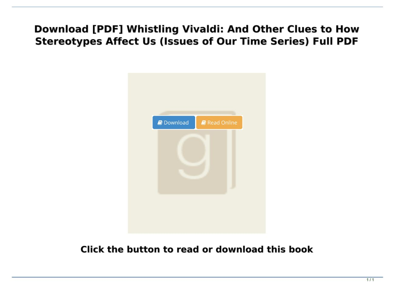Whistling Vivaldi Pdf Download