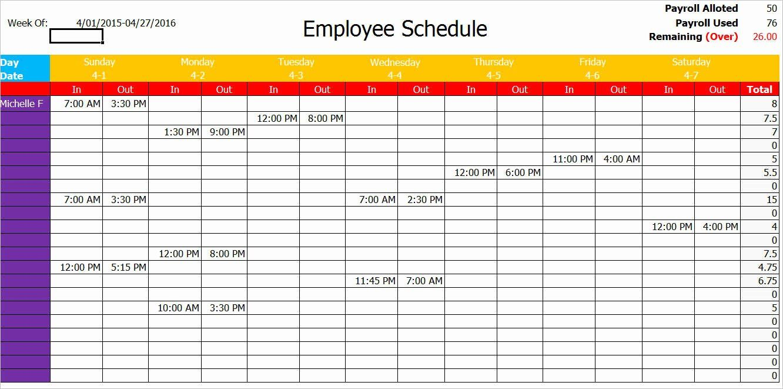Work Schedule Template Pdf