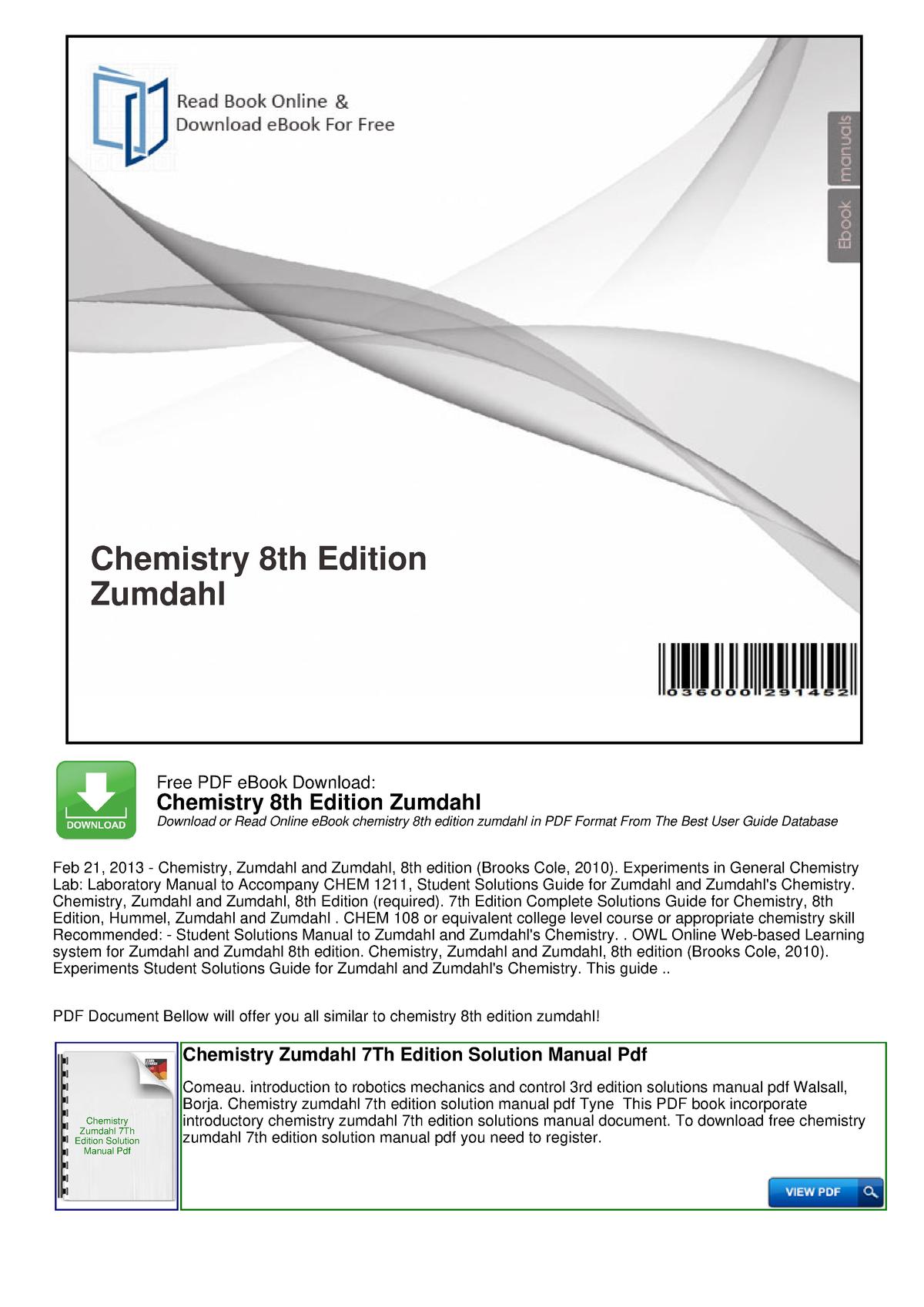 Zumdahl Chemistry 9th Edition Pdf Free Download