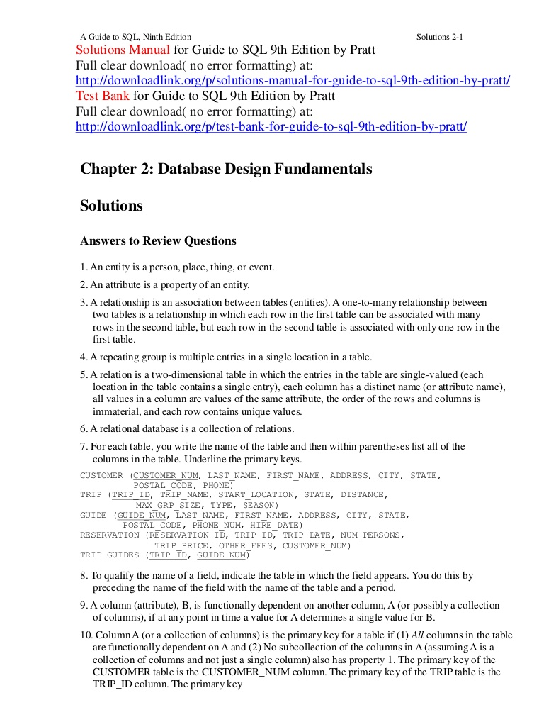 A Guide To Sql 9th Edition Pdf