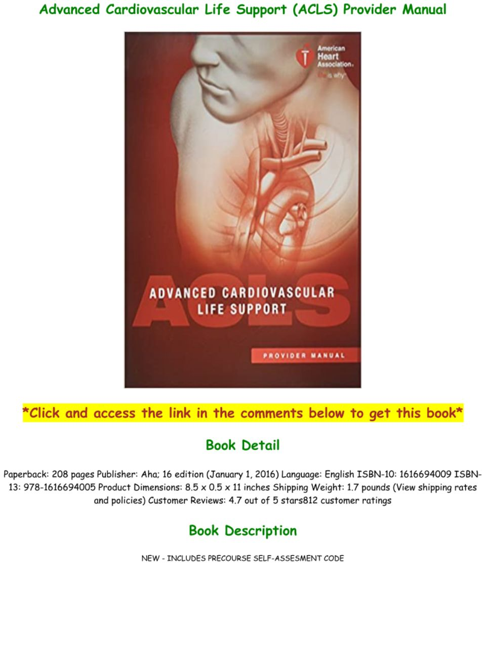Acls Manual Pdf Free Download