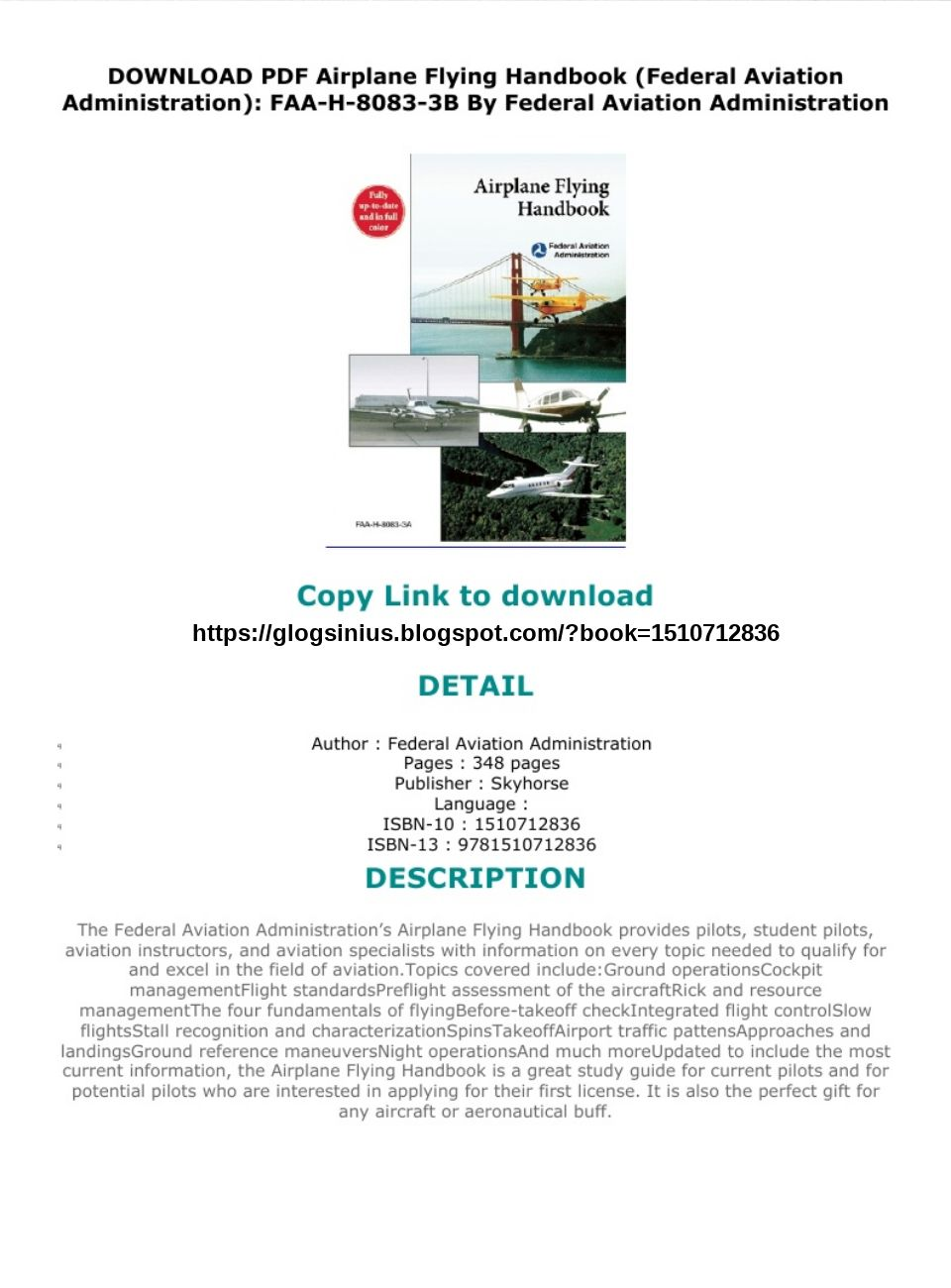 Airplane Flying Handbook Pdf Download
