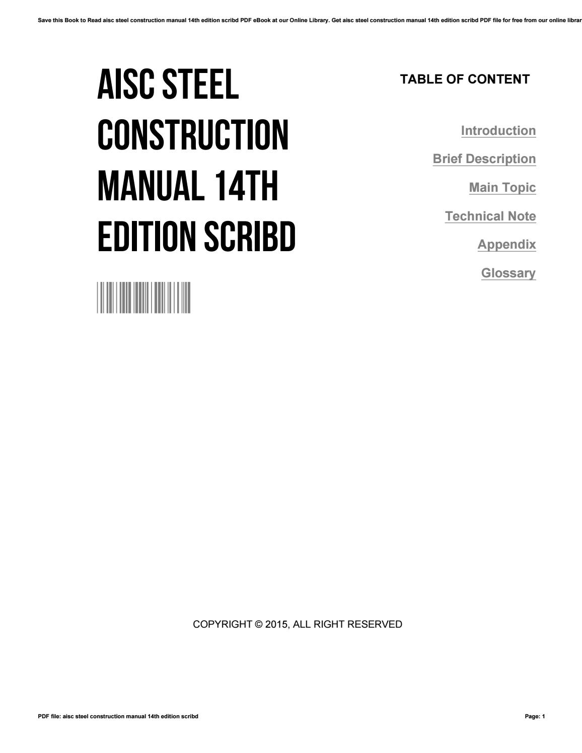 Aisc Steel Construction Manual 14th Edition Pdf Scribd