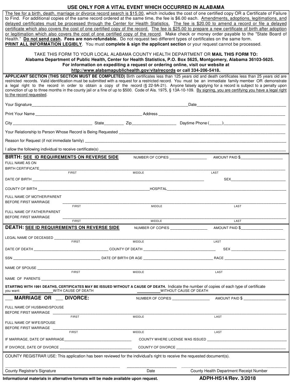 Alabama Birth Certificate Application Pdf
