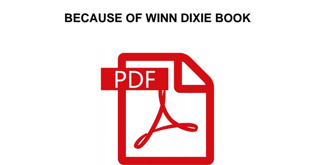 Because Of Winn Dixie Book Pdf