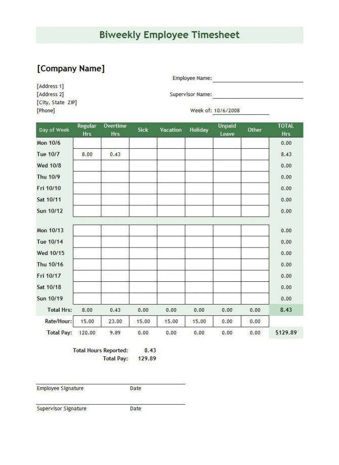 Biweekly Time Sheet Pdf