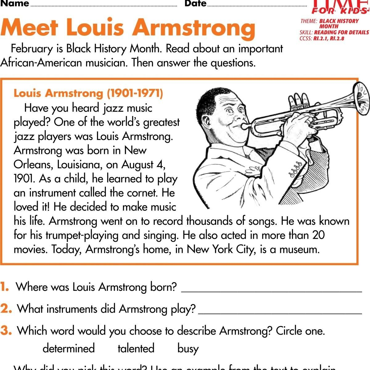 Black History Month Music Worksheets Pdf