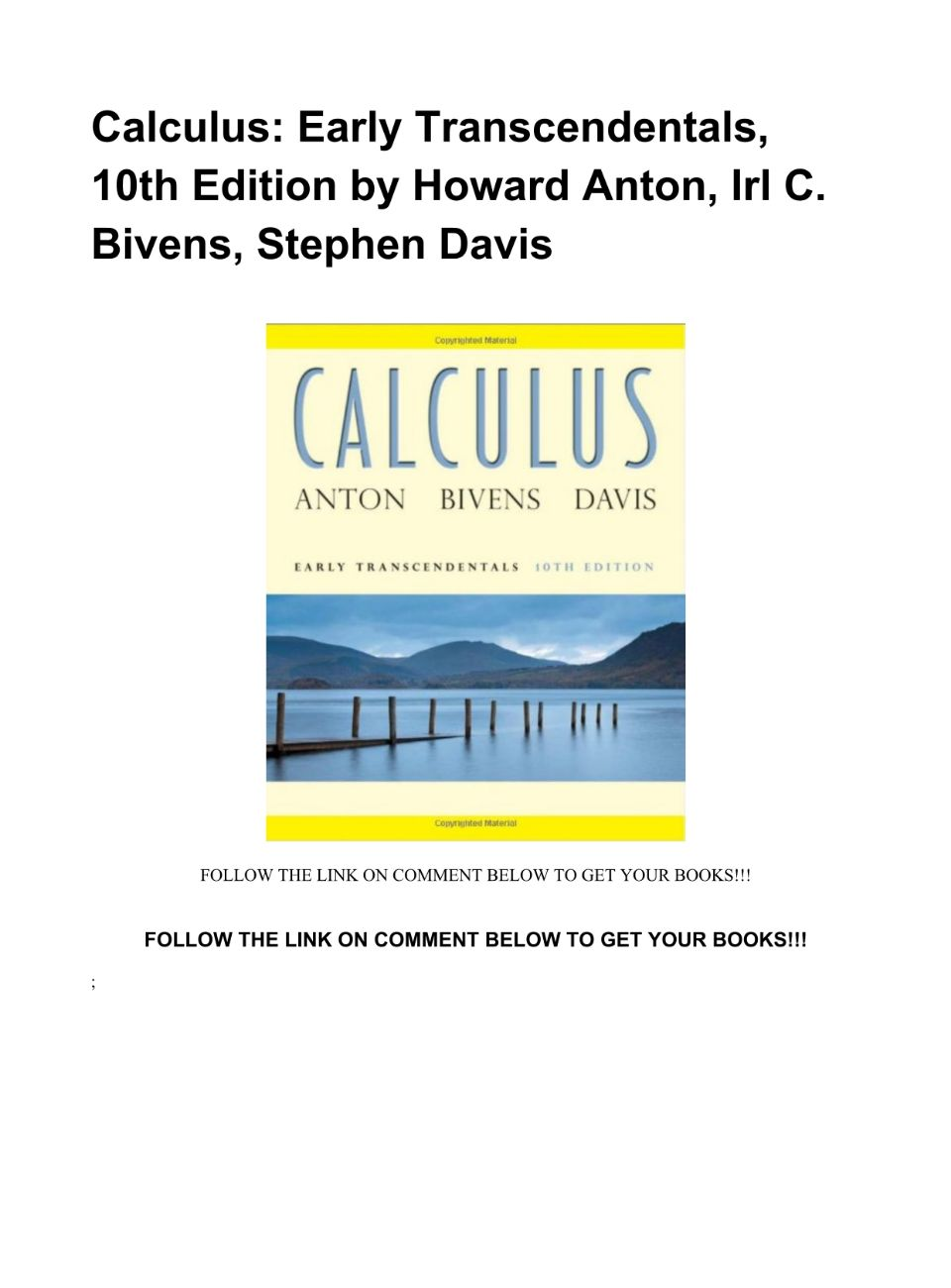 Calculus Early Transcendentals 10th Edition Pdf Download