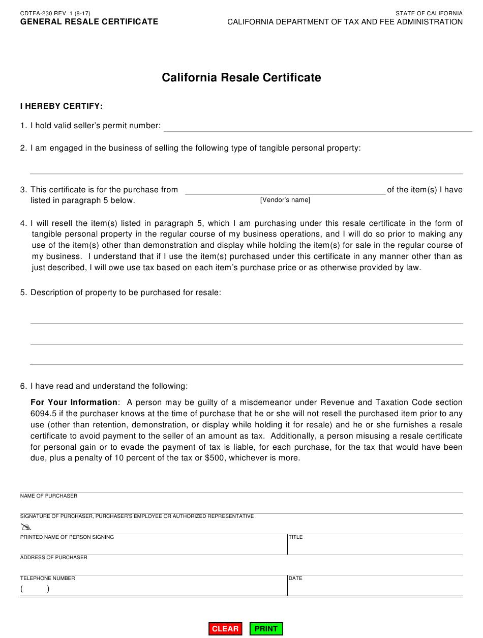 California Resale Certificate Fillable Pdf