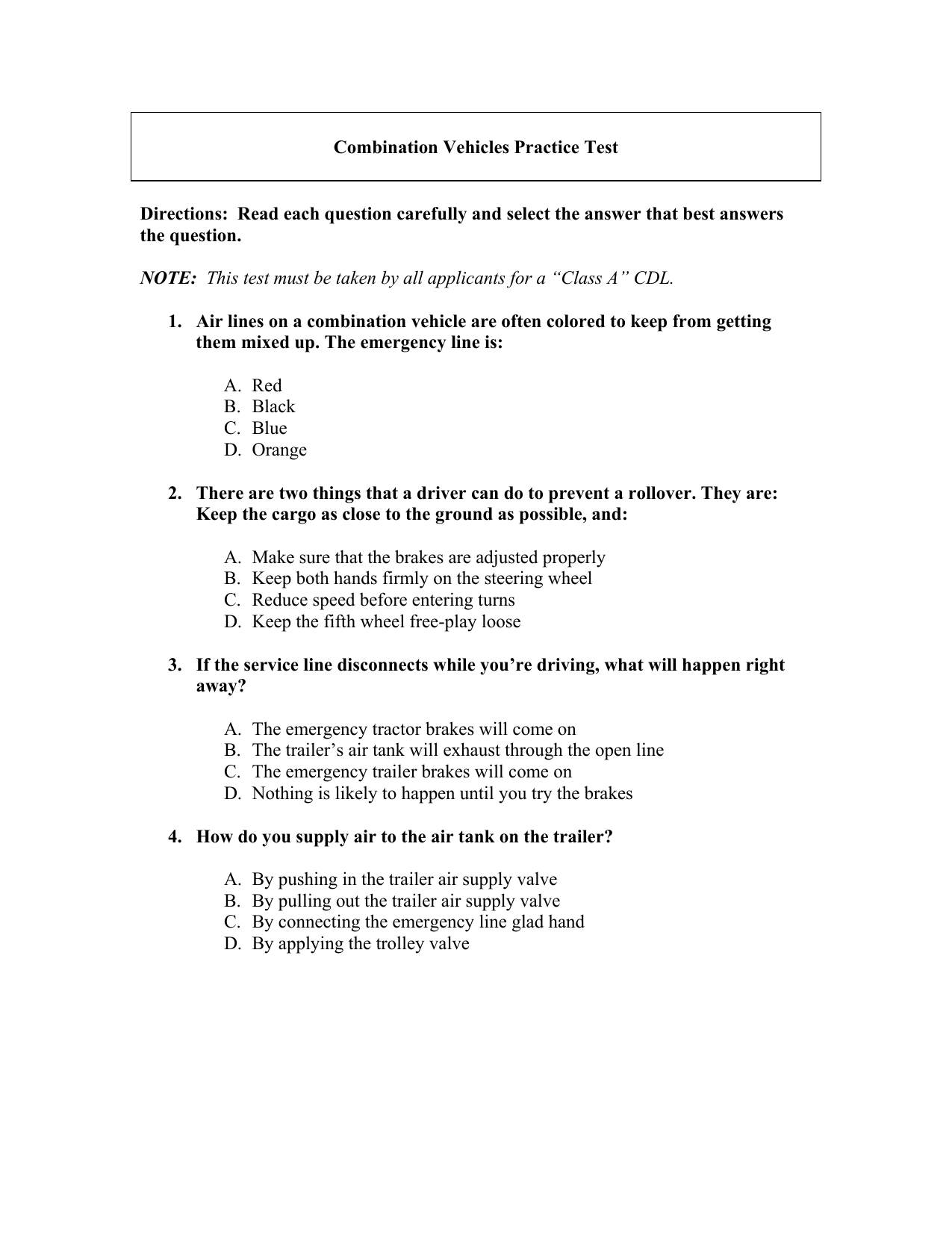 Cdl Combination Practice Test Pdf