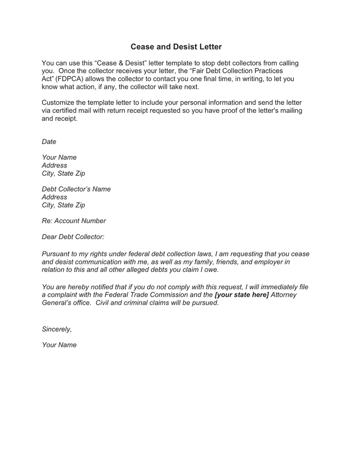 Cease And Desist Letter Pdf