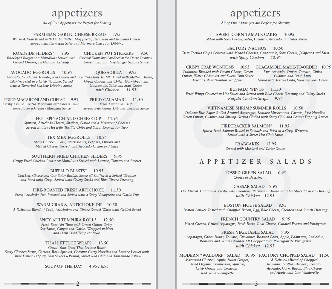 Cheesecake Factory Lunch Menu Pdf