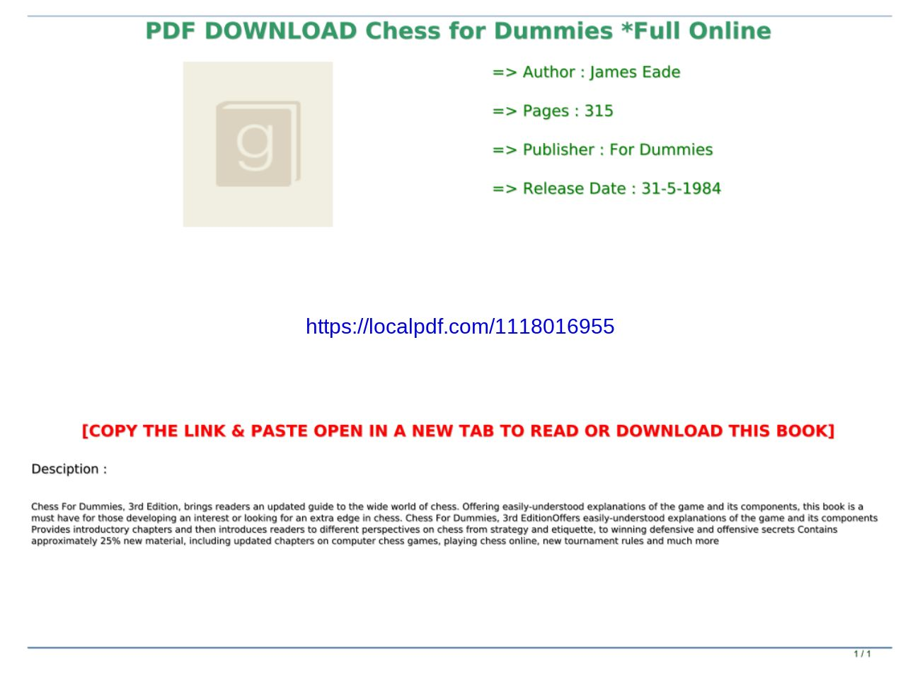 Chess For Dummies Pdf Download
