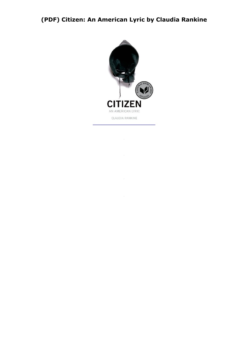 Citizen By Claudia Rankine Pdf