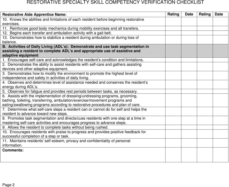 Cna Skills Checklist Pdf