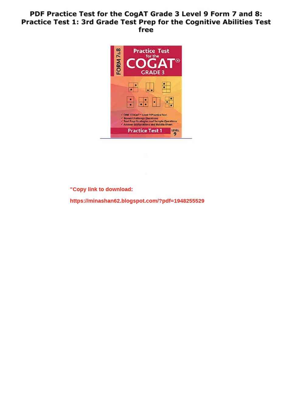 Cogat Practice Test Grade 3 Pdf
