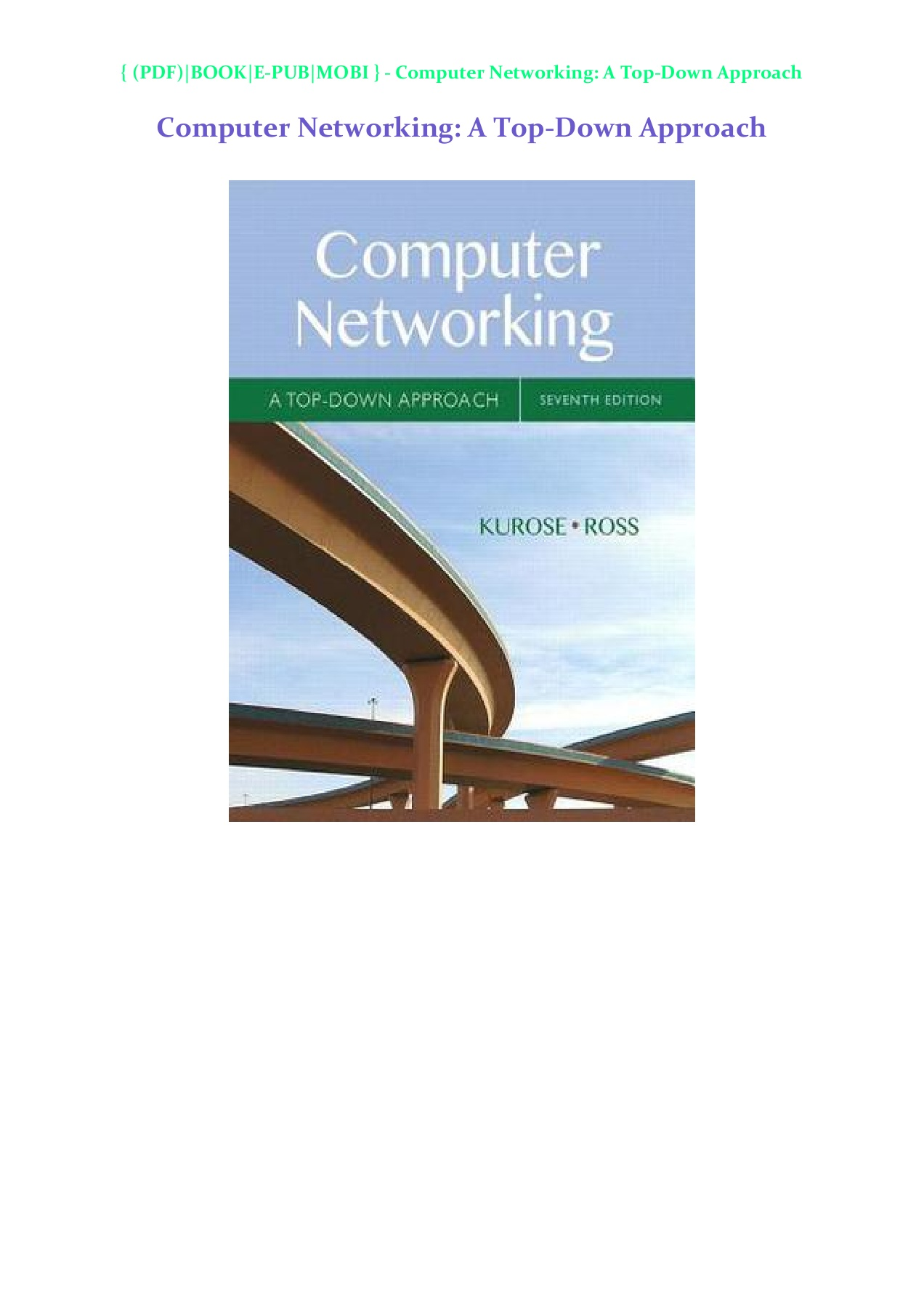Computer Networking Kurose 7th Edition Pdf