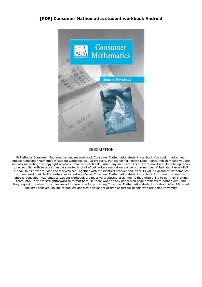 Consumer Math Worksheets Pdf