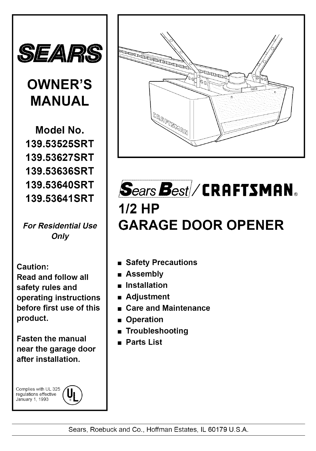 Craftsman Garage Door Opener Manual Pdf