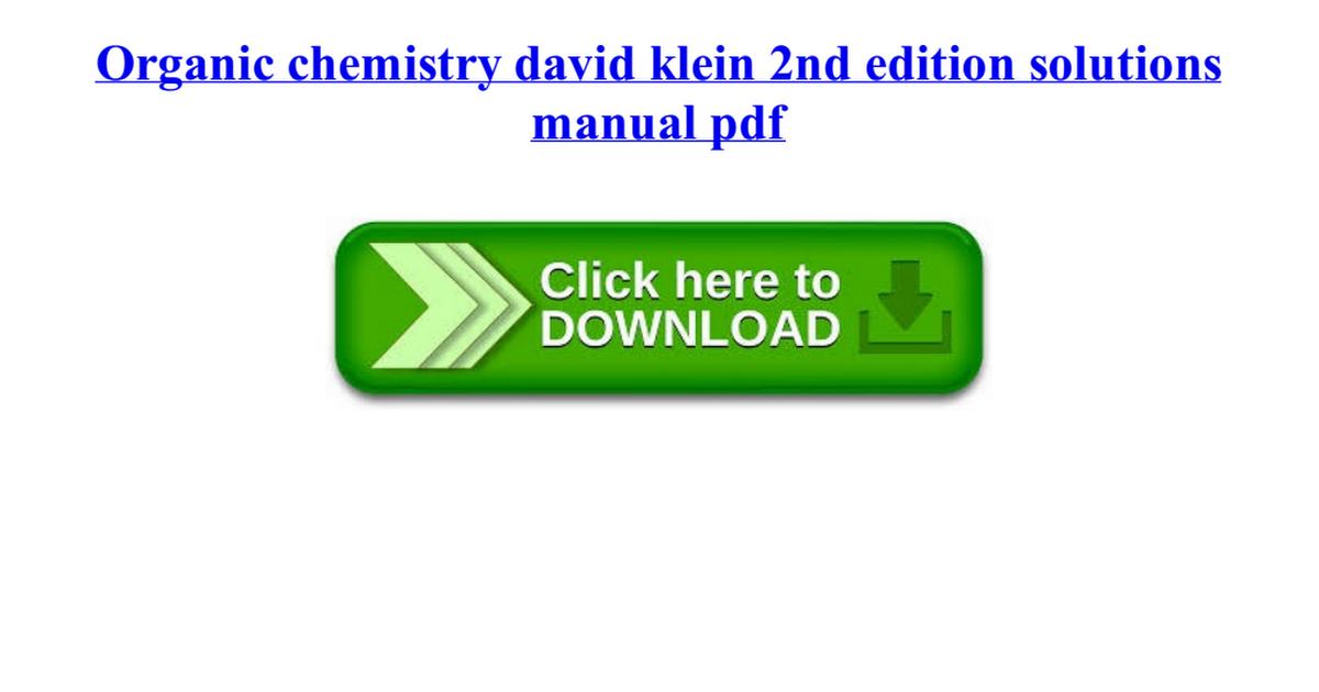 David Klein Organic Chemistry 2nd Edition Pdf