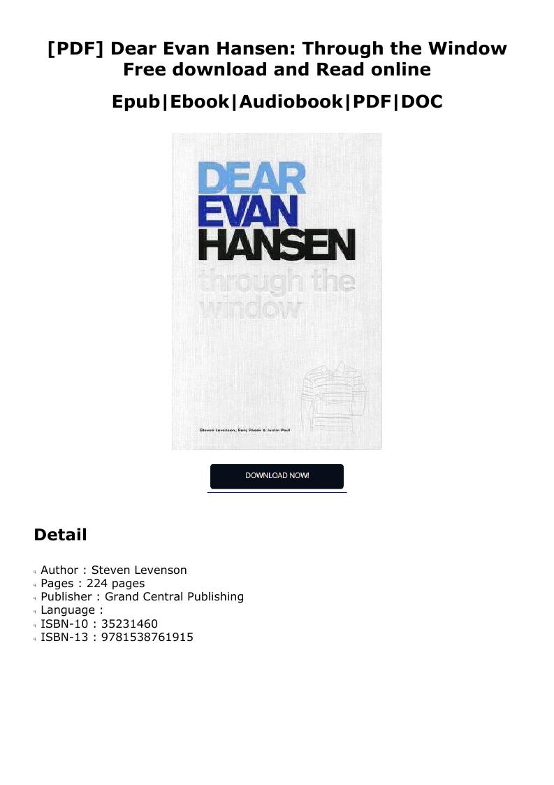 Dear Evan Hansen Pdf Free