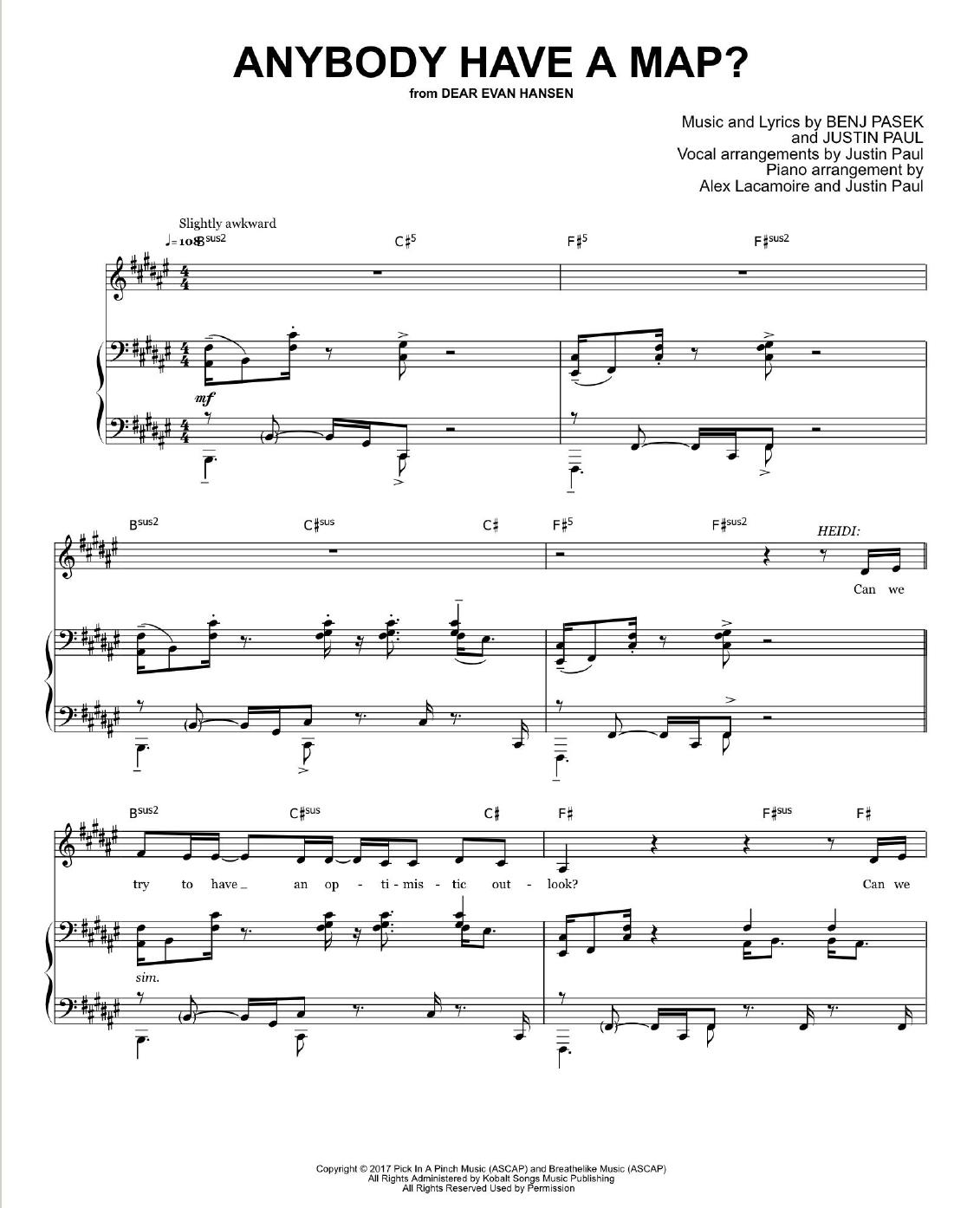 Dear Evan Hansen Pdf Sheet Music