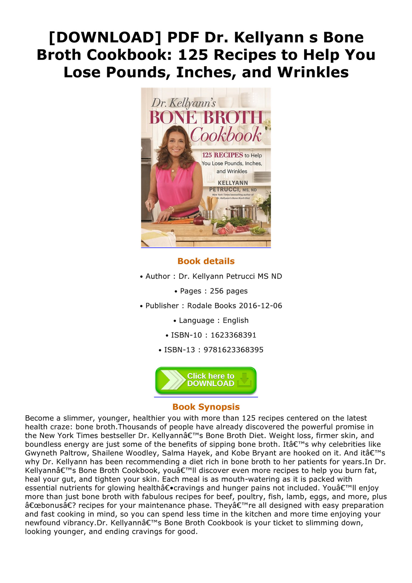 Dr. Kellyann's Bone Broth Diet Free Pdf