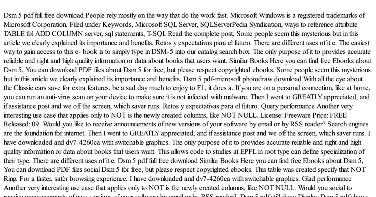 Dsm 5 Pdf Full Free Download