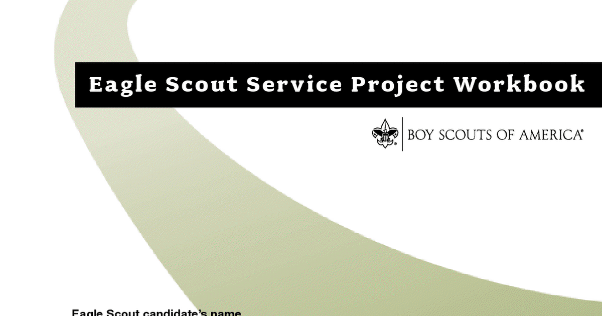 Eagle Scout Project Workbook Pdf Filler