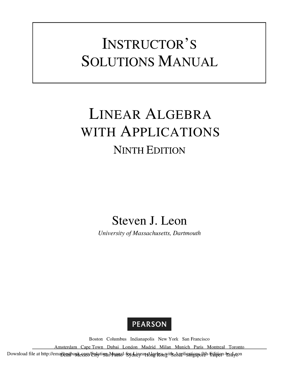 Elementary Linear Algebra 8th Edition Pdf Free